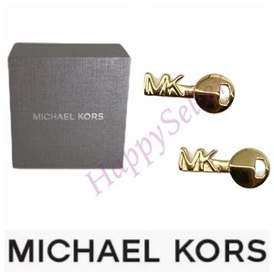 Michael Kors Gold Earrings Studded Key Logo NEW